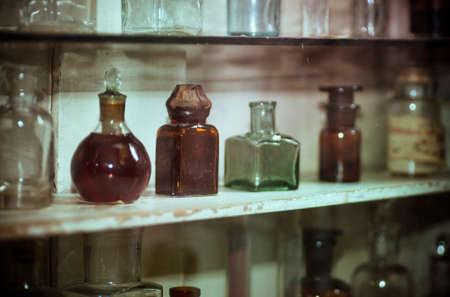apothecary: Antique vintage medicine bottles Stock Photo