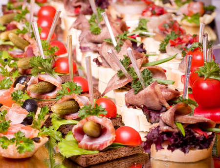 toothpick: Set of tasty canape for an event party