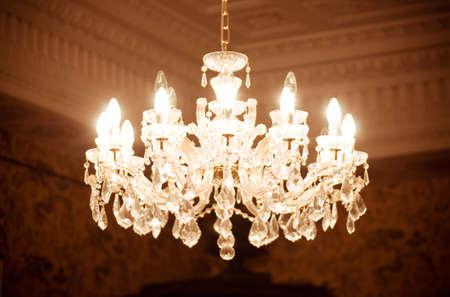 Vintage crystal lamp details 스톡 콘텐츠
