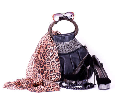 Fashionable accessories on white background  스톡 콘텐츠