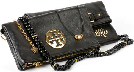 Sexy fashionable handbag and golden jewelry Stock Photo - 17931021