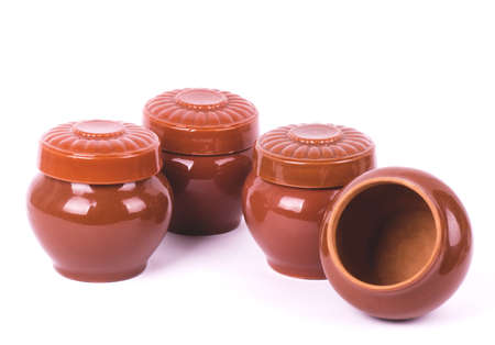 Clay pots isolated on white background photo