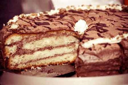 Tasty chocolate cake with stuffing photo