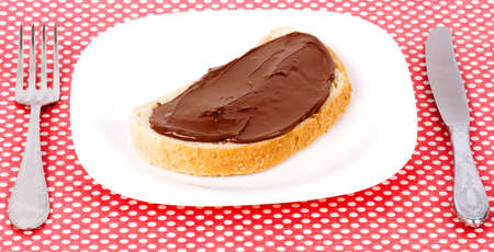 Chocolate spread buttered toast on the plate photo