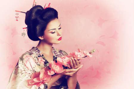 Portrait d'une femme de geisha japonaise Banque d'images - 22612896