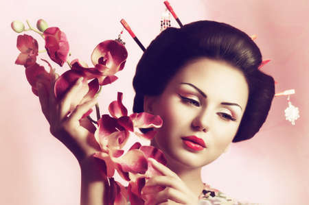 geisha girl: Portrait of a Japanese geisha woman