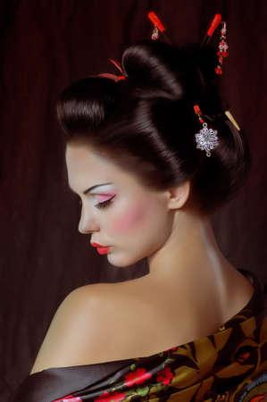 Portrait d'une femme japonaise de geisha