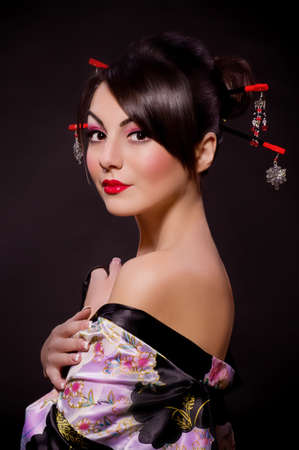 geisha kimono: Portrait of a Japanese geisha woman