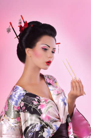 Portrait of a Japanese Geisha woman photo