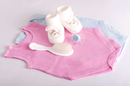 fashion  babies's wear: Baby girl colorful clothes with baby boots  Set Stock Photo