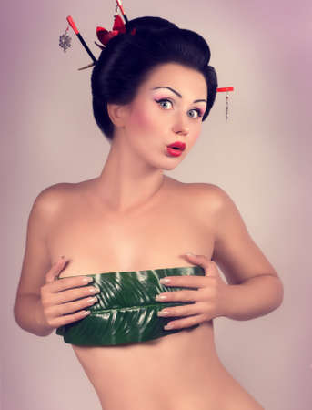 exotic woman: Portrait of a Japanese geisha woman