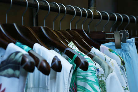 cloakroom: Color fashionable clothes in cloak-room