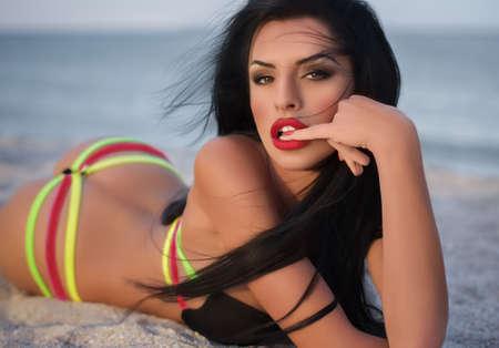 bikini model: bikini girl posing at beach
