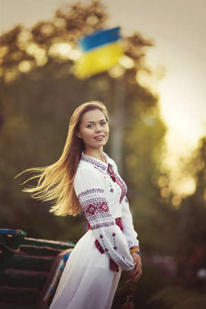 chaplet: Ukrainian beautiful girl in national chaplet