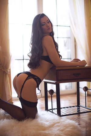 Sexy belle jeune fille brune en sous-vêtements Banque d'images - 38524002
