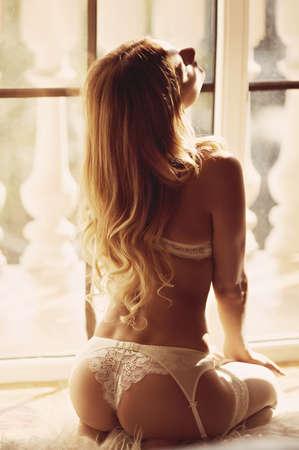 mujer desnuda: Muchacha hermosa atractiva en ropa interior Foto de archivo