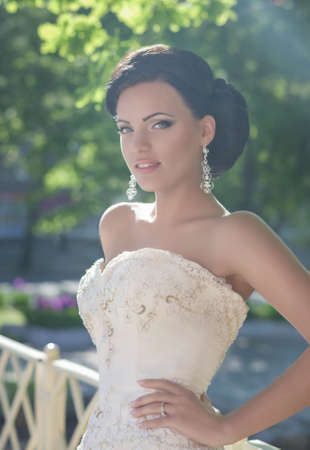 beautiful bride: Beautiful bride with stylish make-up in white dress