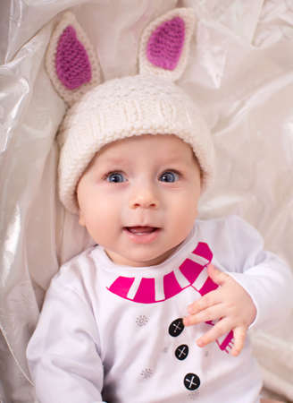 Little baby boy is in the suit of rabbit photo
