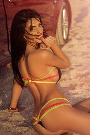 femme brune sexy: Sexy bikini girl posant sur la plage Banque d'images