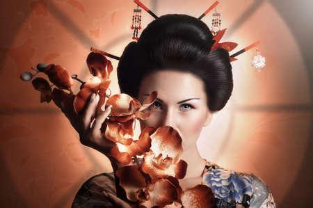 日本の芸者の女性の肖像