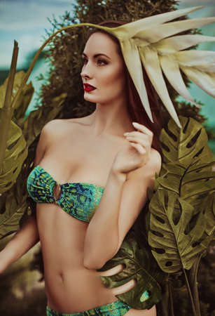 provocative woman: Sexy bikini girl posing at beach