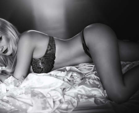 underclothes: Sexy beautiful blonde girl in underclothes