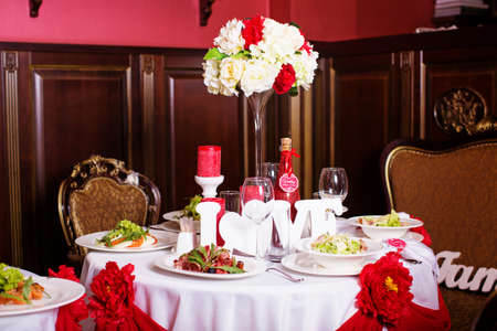 service with silverware and glass stemware for an event party Stock Photo