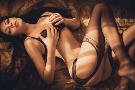 Sexy belle jeune fille brune en sous-vêtements Banque d'images - 47349951