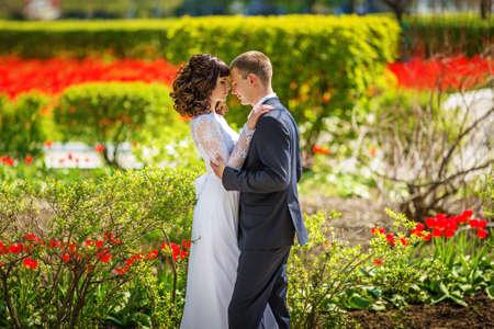 wedding couple: Bride and groom on their wedding day Stock Photo