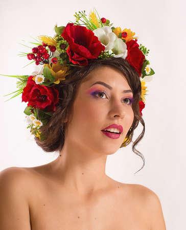 chaplet: Ukrainian beautiful girl in national chaplet