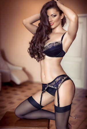 underclothes: Sexy beautiful brunette girl in underclothes