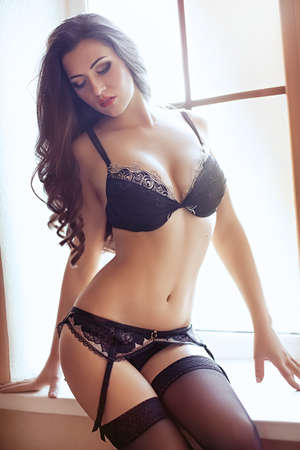 sexy lingerie: Sexy beautiful brunette girl in underclothes