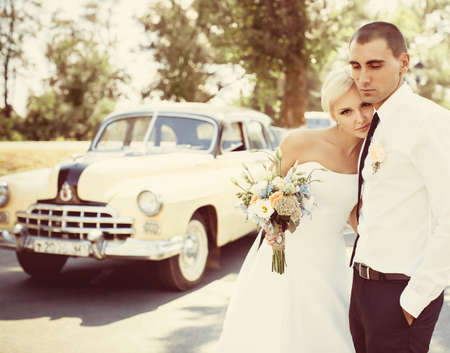 married couples: Bride and groom on their wedding day Stock Photo