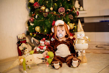 Baby boy in carnival costume near Christmas tree