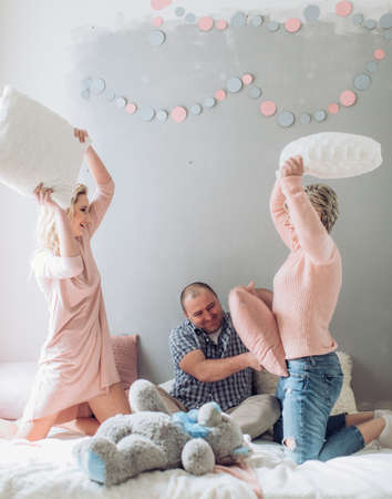 Happy family celebrating birthday of girl