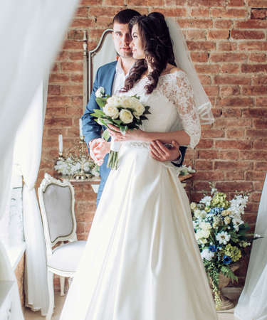 enchanting: Happy bride and groom on their wedding Stock Photo