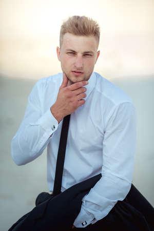 Beautiful casual man outdoors