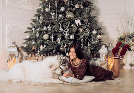 Happy girl with samoyed husky dog ??in Christmas decorations