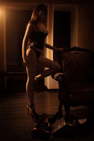 Sexy mooie brunette meisje in ondergoed