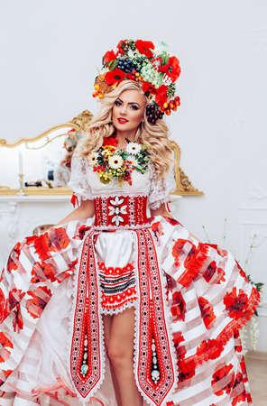 Ukrainian beautiful woman in national clothes