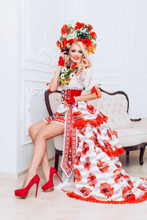 Ukrainian beautiful woman in national clothes