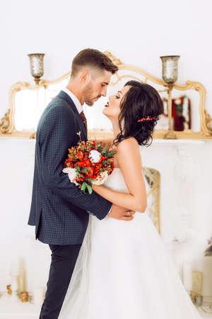 Bride and groom on their wedding day 版權商用圖片
