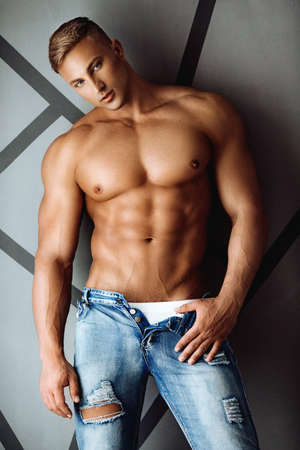 Young sexy muscular man 스톡 콘텐츠