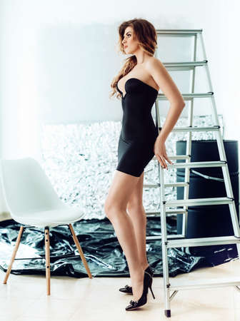 Sexy beautiful woman in black underclothes