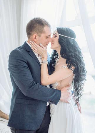 Happy bride and groom on their wedding Banco de Imagens