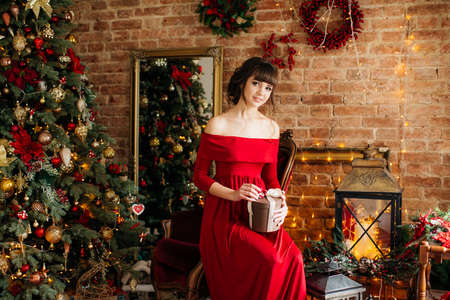 Portrait of beautiful young woman in red dress in Christmas decorations