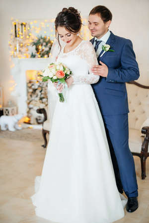Happy bride and groom on their wedding Standard-Bild
