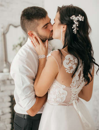 Happy bride and groom on their wedding Stock Photo