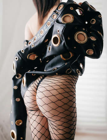 Sexy beautiful woman in leather jacket. Archivio Fotografico