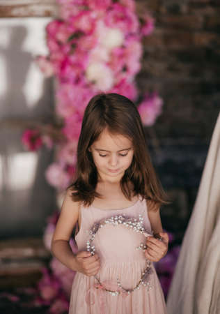 Portrait of beautiful little girl with pi-mesons Stock Photo